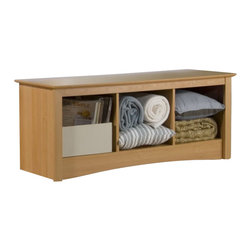 Prepac - Prepac Sonoma Maple Cubby Storage Bench - Prepac - Bedroom Benches - MSC4820 - This practical storage bench for the foot of the bed is the perfect companion to the Sonoma Double/Full or Queen Headboard (sold separately). Contemporary in design it would also be a great addition to a front hallway or mudroom.