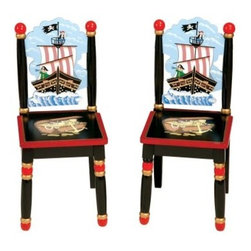 Guidecraft Pirate Chair - Set of 2 - The perfect seats for would-be buccaneers, the Pirate Extra Chairs by Guidecraft is a comfortable set that fits well in any playroom or classroom. Made with beautiful hardwood, this piece is outfitted with a colorful pattern of pirate ships and treasure chest, complemented by the black accents. The chairs work well by themselves, and can also be matched with the Pirate Table for full seating. All the materials are kid-safe and kid-sturdy, ensuring years of steady use. Effortlessly stimulating children's creativity, the Pirate Extra Chairs open up a whole new dimension of imaginative play and learning. About GuidecraftGuidecraft was founded in 1964 in a small woodshop, producing 10 items. Today, Guidecraft's line includes over 160 educational toys and furnishings. The company's size has changed, but their mission remains the same: Stay true to the tradition of smart, beautifully crafted wood products, which allow children's minds and imaginations room to truly wonder and grow. Guidecraft plans to continue far into the future what they do best, while always giving our loyal customers what they have come to expect: expert quality, excellent service, and an ever-growing collection of creativity-inspiring products for children.