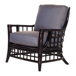 David Francis Furniture - Somerset Lounge Chair, Harbor Blue - The beautiful webbing pattern on this smoke-colored lounge chair is inspired by fishing nets tossed out at sea. Leather-wrapped joints are a final touch that make this chair feel complete.