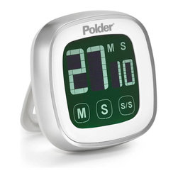 Polder Touch Screen Timer White - The Polder Touch Screen Timer features a 100 minute countdown and a large  easy to read  backlit display.  With a built in memory recall feature and two mounting options - either a magnet mount or freestanding with the built in arm  this digital timer is great for any task.Product Features                Touch screen with backlit display for easy reading  100-minute countdown/count-up with 30-second alarm  Memory function - instantly recalls last setting  Count up feature  Magnets on back for vertical mounting and stand arm for tabletop display  Two AAA batteries included