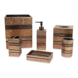 India Ink - Vitello Waste Basket Set - The textured and solid mix of resin in this waste basket will bring a unique metallic look to your bathroom decor. Its coppertone finish is a handsome finishing accent to this waste basket.
