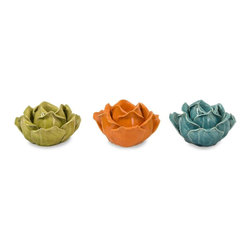 Imax Worldwide Home - Chelan Flower Candle Holders in Gift Box - Se - Set of three ceramic flower shaped candle holders each a different vibrant color. Candleholders. 3 in. H x 5.25 in. D. 100% Ceramic