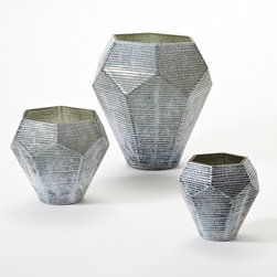 Global Views - Global Views Faceted Stria Gray Vases - The Global Views Stria vase captures the allure of a diamond's facets. Crafted from cased glass, this gray, geometric vessel allures with a carved linear pattern. Available in three sizes