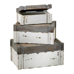 Cyan Design - Cyan Design Alder Boxes, Set of 3 - Boxing DayStep into the design box with this trio of charming accent pieces from Cyan Design. The Alder Boxes, Set of 3, are perfect for shabby-chic spaces and country homes. Each is made from wood and features a distressed-white base and a gray-finished lid. Use the smallest one to house candles or sweet accent pieces on a console table, and fill the larger two with spare blankets, linens, or even firewood. You can also stack them up in a tower to make a casually rustic vignette. Feel free to use your imagination!Set of three boxesMade in China