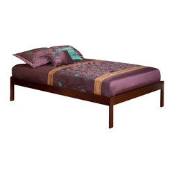 Atlantic Furniture - Atlantic Furniture Concord Bed with Open Foot Rail in Walnut Finish-Twin - Atlantic Furniture - Beds - AR8021004