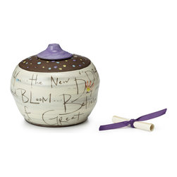 Contemporary Glaze Handmade Wishing Jar - A fitting home for your wishes upon stars or hopes for the future, this beautiful pot invites you to record your goals and desires on paper, roll them up, and drop them in as a therapeutic exercise of collecting positive thoughts. Hand-lettered on the jar's surface is a poem about growth and renewal, meant to inspire the reader as it circles the vessel. This hand-thrown jar makes an elegant gift for a recent graduate, a newlywed couple, or anyone with big dreams.