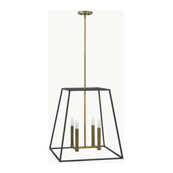 """Hinkley - Hinkley-3336BZ-Fulton - Four Light Large Foyer - Fulton�s minimalist beauty emphasizes �less is more� with vintage industrial style. This clean, airy tapered cage design is constructed without glass and the unique square candle sleeves rest on a discreet �H""""-shaped cluster. No. of Rods: 4 Mounting Direction: Up Shade Included: Yes Sloped Ceiling Adaptable: Canopy Diameter: 5.00 Rod Length(s): 12.00  Bronze Finish with Etched Opal Glass  Lamp Quantity: 4  Lamp Type: Candelabra  Wattage: 60  Wire Length: 120.00  Material: Steel"""