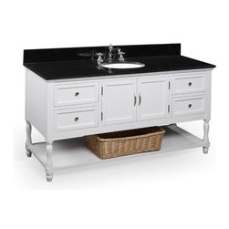 Kitchen Bath Collection - Beverly 60-in Single Sink Bath Vanity (Black/White) - This bathroom vanity set by Kitchen Bath Collection includes a white cabinet with soft close drawers, black granite countertop, single undermount ceramic sink, pop-up drain, and P-trap. Order now and we will include the pictured three-hole faucet and a matching backsplash as a free gift! All vanities come fully assembled by the manufacturer, with countertop & sink pre-installed.