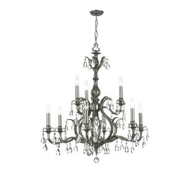 Crystorama Lighting Group - Dawson Pewter Nine-Light Chandelier with Swarovski Strass Crystal - Dawson Pewter Nine-Light Chandelier with Swarovski Strass Crystal Crystorama Lighting Group - 5569-PW-CL-S