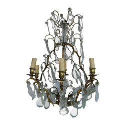 Vintage French Crystal Chandelier - Beautiful Crystal Chandelier from France. Rewired & Electrified. Lovely shape with Bronze Cage.