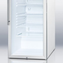 """Summit - SCR450L7HV 20"""" 4.1 cu. ft. Refrigerator With Glass Door  Factory Installed Lock - SUMMIT SCR450L7 Series features auto defrost glass door refrigerators designed for freestanding use in any 20 commercial space"""