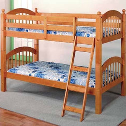 Yuan Tai Furniture - Wood Bunkbed Cherry Twin/Twin Bunkbed - 9082-CH - Solid Hardwoods and wood veneers