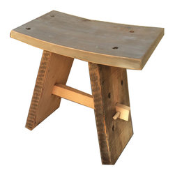 """Ross Alan Reclaimed - Reclaimed Saddle  Stool - Made out of Reclaimed Douglas Fir, this Saddle Stool is a perfect solution for space efficiency.  With an 18"""" height, and 18"""" width the Reclaimed Saddle Stool is great for any standard height dinner table, desk, or an accent piece in a room.   The seat is 11 inches in depth and has a subtle angel for comfortability.  The stool is preserved with a wax finish."""