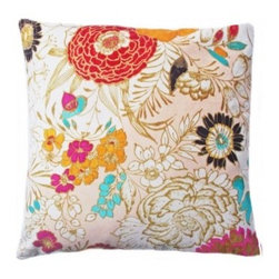 5 Surry Lane - Neutral Suede Multi Floral Pillow - Blooms of every shape, size and color make up the pattern on this hip accent pillow. Vibrant hues pair with line drawings of flowers to create a floral tapestry that's charming yet modern. It's a clever way to add texture and color to your space while keeping your style thoroughly of the moment.