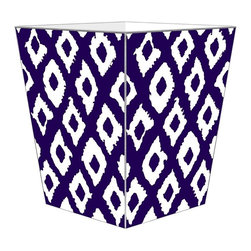 "Marye Kelley - Marye Kelley Purple Ikat Decoupage Wastebasket with Optional Tissue Box, 11"" Squ - This is a handmade decoupage wastebasket with optional tissue box.  All items are handmade in the USA.  There are three different styles available.  There is the 12"" Fluted Tin Design, the 11"" Square Design with a flat top or the 11"" Square design with a scalloped top.  Coordinating tissue boxes may also be made. Please note all items are custom made and may not be returned."