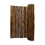 """Natural Black Rolled Bamboo Fence 1"""" D X 3' H X 8' L - Black Rolled Bamboo Fence 1"""" D X 3' H X 8' L"""