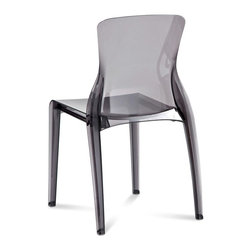 Domitalia - Crystal Chair - Transparent Smoke - Set of 4 - Crystal clear. This polycarbonate stacker is a thoroughly enjoyable side chair offered in a range of six modern color basics - both opaque and clear. Crystal is made using an environmentally friendly production process. Unlike many polycarbonate chairs, this one is stackable! Up to six high. Sold in sets of four. Select transparent Amber, Violet, Fume, Clear/Transparent, opaque White or opaque Black.
