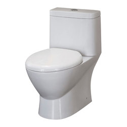 "Fresca - Fresca Serena One-Piece Dual Flush Toilet w/ Soft Close Seat - Dimensions:  27.9""L x 15.2""W x 27.9""H. UPC Approved / EPA WaterSense Certified. Dual flush (0.8gpf / 1.6gpf). Soft Close Toilet Seat Included. Bowl Type:  Elongated. Trap Distance:  12"" (Drain w/ Trap Included). High Quality Stain Resistant Polish w/ Fully Glazed Trapway. . The Serena elongated, one-piece toilet features an elegant, sophisticated design, that is both comfortable look at and to sit on.  This toilet features a dual flushing system with option of a 0.8gpf or 1.6gpf.  It also features a fully glazed inner trapway and comes with a stain resistant polish making it easy to keep clean."