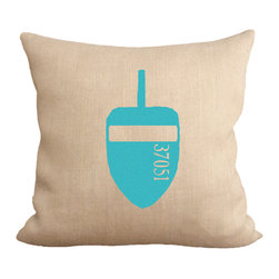 Fiber and Water - Teal Lobster Buoy Pillow - A great depiction of a Lobster Buoy. The numbers represent the Lobsterman's permit #. The bright colors are a a beacon when at sea. Hand-pressed onto natural burlap using water-based inks.