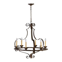 Cyan Design - Cyan Design Kensington Transitional Chandelier X-50640 - This chandelier features a magnificent wrought iron frame with smooth curves and elegant scrolls. The gilded bronze finish adds to the antique appeal of the Cyan Design Kensington Transitional chandelier. The candle lights provide soft lighting creating an inviting ambiance to the living space.