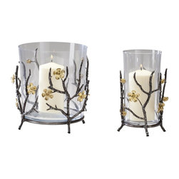 Cyan Design - Cyan Design Small Botanica Container X-45340 - Golden buds and fully bloomed, delicate flowers adorn the iron frame of this Cyan Design candle holder, which has been molded to create the look of branches. From the Botanica Collection, this charming container pairs its Gold finished accents with a Raw Steel frame.