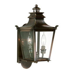 Troy Lighting - Dorchester Outdoor Wall Lantern - Dorchester Wall Sconce features Clear glass with an English Bronze finish. Available in six sizes. Also available in Pendant and Post Light. 60 watt, 120 volt CA8/Candelabra incandescent bulbs are required, but not included. Small: 7.5 inch width x 13.75 inch height x 4.25 inch depth. Medium: 7.5 inch width x 16.25 inch height x 8.5 inch depth. Large: 11.25 inch width x 20.25 inch height x 6.25 inch depth. X-Large: 7.5 inch width x 22.5 inch height x 8 inch length. XX-Large: 11.25 inch width x 30.5 inch height x 11.5 inch height. XXX-Large: 14 inch width x 37 inch height x 14.5 inch depth.