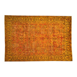 Orange Overdyed Old Persian Tabriz Area Rug 8x11 Hand Knotted 100% Wool SH17033 - Our Overdyed & Patchwork hand knotted Rug Collection is another highly demanded rug in our industry today. For our Hand Knotted  Overdyed Rugs we have a team that strips the original colors and overdyed in either more vibrant or softer & subtle hues.  The Patchwork Hand Knotted Rugs are very unique and complex.  Its composed of several different designs made up into one rug.
