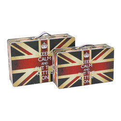 Screen Gems - Britannia Suitcases - A pair of Union Jack suitcases make a playful statement when stacked together in your living room or den. The decorative storage pieces are great for keeping paperwork, magazines or even coasters neatly organized. Arrange a vintage tea set from your travels on top to complete the international look.