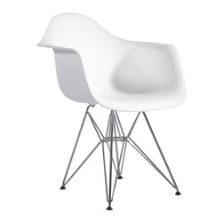 Hampton Modern - Plastic Arm Chair in White with Wire Base - This metal based arm chair serves well as a dining chair or as a stand alone accent chair, with a plastic seat that flexes just enough to make it comfortable.