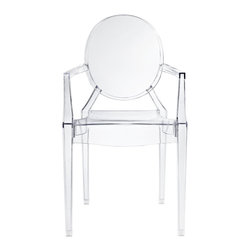 IFN Modern - Ghost Style Armchair - Philippe Starck, the French product designer was born in Paris in 1949. With regards Furniture, he is famous for his designs that are made from polycarbonate plastic. Unlike most other New Design artists, Starcks work does not concentrate on creating provocative and expensive single pieces. His products and furnishings are often stylized, streamlined and organic in their look and are also constructed using unusual combination of materials. The Signature Ghost Chair presents a unique mix of creativity and sturdiness. The chairs are durable, can be stacked and are great for both outdoor and indoor use. The Ghost Chair almost disappears into the background as if to faintly impose its distinguishing design element into the room.