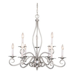 Savoy House - Savoy House Polar 2 Tier Chandelier in Pewter - Shown in picture: Designed by Karyl Pierce Paxton; The Pierce Paxton Polar collection with it�s clean and sophisticated lines paired with the curls - Pewter finish and White candle covers make this collection a must have for any home.