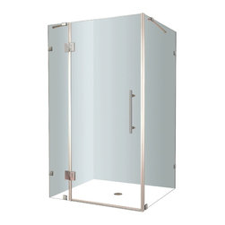 Aston - Aston Avalux 48x36x72, Completely Frameless Shower Enclosure, Stainless Steel - The Avalux square/rectangular completely frameless hinged shower enclosure series provides a contemporary, upscale showering experience in your already existing shower alcove. Available in a number of sizes, the Avalux comes ready to install, complete with 10mm ANSI-certified clear tempered glass, chrome or stainless steel hardware, premium clear leak seal strips and engineered for reversible left or right-hand door installation.