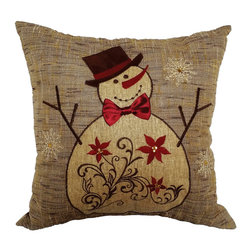 Xia Home Fashions - Snowman Embroidered Collection Pillow With Polyester Filled, 14x14 - This merry and magical snowman is here to bring your home extra Christmas cheer this holiday season! Embroidered with jewel accents. Wipe clean with damp cloth. Handwash cold water, no bleach, lay flat to dry. Light iron as needed.