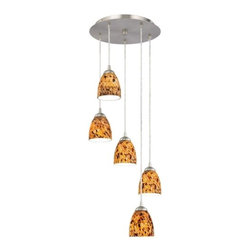 Design Classics Lighting - Modern 5-Light Pendant Light with Brown Art Glass- 580-09 GL1005MB - Contemporary / modern satin nickel 5-light mini-pendant light. Includes one satin nickel five port ceiling canopy. Each mini-pendant comes with 7-feet of clear cuttable cord that allows for custom height adjustability for each pendant. Takes (5) 100-watt incandescent A19 bulb(s). Bulb(s) sold separately. UL listed. Dry location rated.