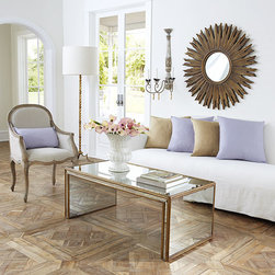 Antiqued Art Deco Coffee Table - Beauty defined. Antiqued-glass mirrors on all sides to bring in added light, and framed in gilded wood for the finishing touch. The grand impact this will make in your home is sure to keep you gazing at it for hours.