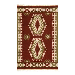 St Croix Trading - Southwestern/Lodge Hacienda 9'x12' Rectangle Orange Area Rug - The Hacienda area rug Collection offers an affordable assortment of Southwestern/Lodge stylings. Hacienda features a blend of natural Orange color. Flat Weave of Wool - Cotton the Hacienda Collection is an intriguing compliment to any decor.