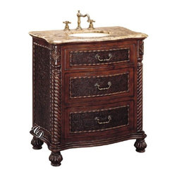 Classic Design - Sink Cabinet, Brown Marble - Sink Cabinet/Brown Marble. Dimensions: 32 in. x 19 in. x 35 in.
