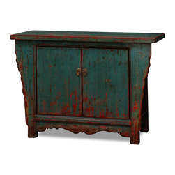 """China Furniture and Arts - Elmwood 2-Door Peking Cabinet - Made of solid Elmwood, our vintage altar style cabinet is hand built by artisans in China. Unique in color, the distressed finish is a blue-green tone with hints of red showing through. A center compartment measuring 33.5""""W x 12.5""""D x 24""""H provides ample storage and comes complete with one removable shelf. Ideal for the foyer, living room, and media room . Fully Assembled."""