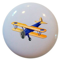 Carolina Hardware and Decor, LLC - Blue Airplane Ceramic Cabinet Drawer Knob - 1 1/2 inch white ceramic knob with one inch mounting hardware included.  Great as a cabinet, drawer, or furniture knob.  Adds a nice finishing touch to any room.