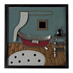 Joshua Marshal - Bathroom Scene-Bathroom Scene Metal Wall Decor - Bathroom Scene-Bathroom Scene Metal Wall Decor