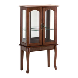 Koolekoo - Simply Elegant Curio Cabinet - Elegantly proportioned curio cabinet graciously accents your favorite room. Glass doors, graceful legs and stylish fittings dignify this beautiful cabinet.