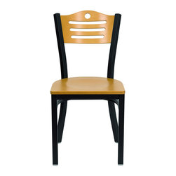 Flash Furniture - Flash Furniture Hercules Series Black Slat Back Metal Restaurant Chair - Flash Furniture - Dining Chairs - XUDG6G7BSLATNATWGG - Provide your customers with the ultimate dining experience by offering great food, service and attractive furnishings. This heavy duty commercial metal chair is ideal for restaurants, hotels, bars, lounges, and in the home. Whether you are setting up a new facility or in need of a upgrade this attractive chair will complement any environment. This metal chair is lightweight and will make it easy to move around. This easy to clean chair will complement any environment to fill the void in your decor. [XU-DG-6G7B-SLAT-NATW-GG]