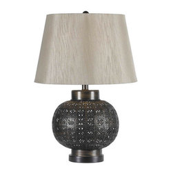 Kenroy Home - Kenroy Home 32163 Seville Single-Light Table Lamp - Seville Single-Light Table Lamp with 3-Way Socket SwitchA punched metal floral pattern on a tile-textured spherical base, gives Seville a hand-tooled rustic Spanish lantern appeal.Kenroy lighting creations are custom designed to provide years of satisfaction. Trained designers and technicians create functional works of art that exceed appearance and performance expectations. Their craftsman match materials and finishes to each application, for showroom quality at superior values. Particular care is paid to hand applied polishing and painting, matched with the finest glass and shade treatments. Lighting collections are designed to facilitate mix and match coordination.Features: