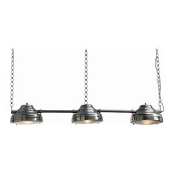 Arteriors - Flanagon Pendant - A triple threat to all things dark and dreary, this trio of large brass headlights has an authentic vintage silver finish and heads toward the industrial for style. It's ideal for defining large spaces: Set it over your pool table in the game room or over a kitchen eating counter.
