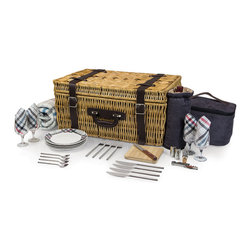 Picnic Time - Carnaby St. Picnic  Basket - A picnic isn't complete without a picnic basket! The Carnaby Street Basket by Picnic Time is an English-style, willow picnic basket with corduroy lined interior and genuine leather straps that comes with deluxe picnic service for four. It features porcelain plates, full-tang stainless steel flatware, a fleece blanket, and two insulated coolers: one for your wine/beverage and one for your food. Picnic accomplished! Features :