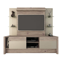 Manhattan Comfort - Morning Side Entertainment Center, Nature and Nude - Aligned with the true concept of a home theater, Morning Side comes to the market, bringing beauty and functionality to your surroundings. With a clean design, inspired by the trend of TV stands with panels, this product has built-in brackets allowing you to mount your TV without using the wall. Four sleek glass shelves allow for added homey touches such as flowers or trophies, with sliding doors to hide the bottom compartment, store your favorite DVD's or home videos for easy access. With a long built-in table, keep a clean, tidy, clutter-free space, or utilize it to store your phone, speakers, or an array of magazines. The possibilities with this entertainment center are endless. The Nature and Metallic Nude colors add a touch of sophistication to the room. The Pro-Touch finish, which revolutionized the market, includes a High definition, ultra-resistant finish with the texture of natural wood, and stylish wood patterns.  The unique paint is protected by the Microban Antibacterial Protection.