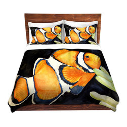 DiaNoche Designs - Duvet Cover Microfiber by Marley Ungaro - Deep Sea Life- Clown Fish - Super lightweight and extremely soft Premium Microfiber Duvet Cover in sizes Twin, Queen, King.  This duvet is designed to wash upon arrival for maximum softness.   Each duvet starts by looming the fabric and cutting to the size ordered.  The Image is printed and your Duvet Cover is meticulously sewn together with ties in each corner and a hidden zip closure.  All in the USA!!  Poly top with a Cotton Poly underside.  Dye Sublimation printing permanently adheres the ink to the material for long life and durability. Printed top, cream colored bottom, Machine Washable, Product may vary slightly from image.