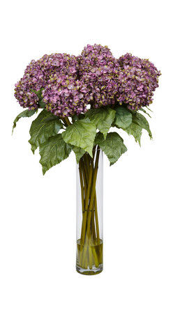 """Nearly Natural - Hydrangea Silk Flower Arrangement - Bold and beautiful, Hydrangeas are nature's way of saying """"aren't I simply grand?"""" And you can bring that pronouncement of natural beauty anywhere with this stunning Hydrangea silk flower arrangement. The bold Hydrangea blooms beckon the eye, while the lush leaves provide the perfect underlayment. Complete with an 18"""" vase, this arrangement will become the focal point of any area it adorns."""