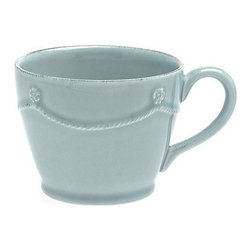 "Juliska - Juliska Berry and Thread Tea-Coffee Cup Blue - Juliska Berry and Thread Tea/Coffee Cup Blue. Add a subtle splash of elegance to your daily routine with this charming ice blue cup that is perfectly sized for coffee or tea. Dimensions: 3"" H x 4"" W Capacity: 10 oz"