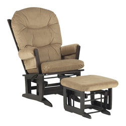 Dutailier - Multipositional Modern Glider Chair w Ottoman (Light Brown) - Fabric: Light Brown. Exclusive glide system. Top quality sealed ball bearings. Multi position mechanism allows to stop the glider at the desired position. Removable foam cushions and padded arms. Easy care micro fiber fabric. Frame made from hardwood. Minimal assembly required. Espresso finish. Made in Canada. Chair: 31 in. W x 26.5 in. D x 43 in. H. Ottoman: 20 in. L x 18 in. W x 14.75 in. HThis Modern glider and ottoman combo offers an exceptionally smooth and extra long glide motion with thick cushions and padded arms. The combination of its contemporary design and espresso finish will add value to any room. There are no sharp edges, the finish is toxic free and this product meets all safety standards.